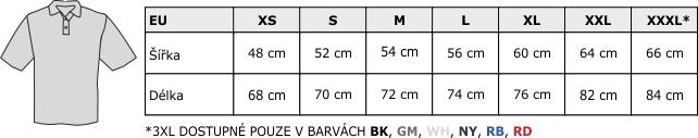 Velikostní tabulka PORA 210